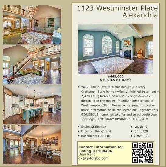 For Sale By Owner Color Flyer for Your Flat Fee MLS Listing VA