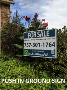 Flat Fee Listing Basic Push In Ground Sign For Sale By Owner Homes FSBO VA Virginia