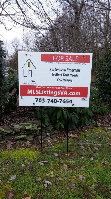 Flat Fee MLS Listing Basic Push In Ground Sign for For Sale By Owner Home Sales FSBO VA Virginia