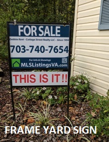 Frame Sign for Flat Fee MLS Listed Homes For Sale FSBO VA Virginia