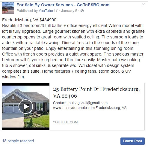 For Sale By Owner Flat Fee MLS Listing Facebook Posting 1