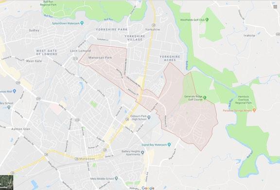 Map of Manassas Park Virginia VA