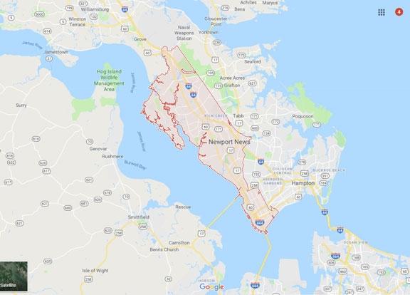 Map of Newport News Virginia VA