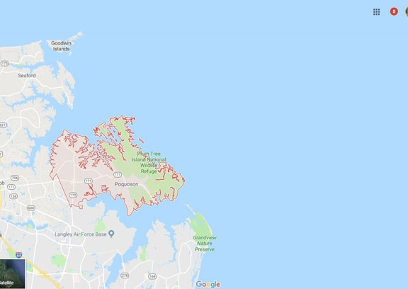 Map of Poquoson Virginia VA