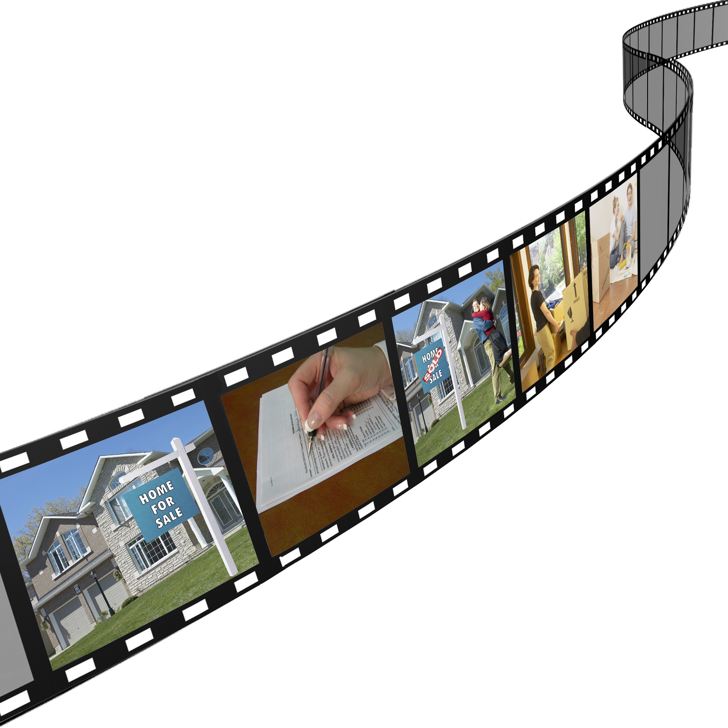 Film strip images of flat fee real estate listing service process including for sale sign, contract signing and MLS listing view