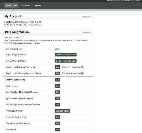 Maintaining my GoToFSBO.com Account for my Flat Fee MLS Listing